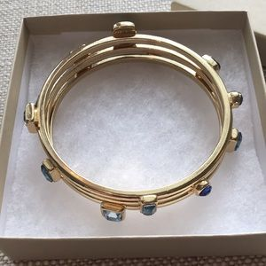 Banana Republic gold tone blue gem bracelet set